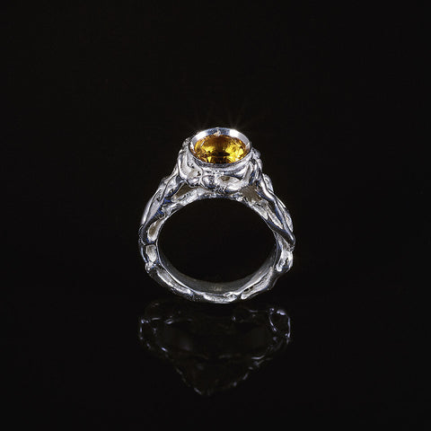 Patterns citrine vine textured ring