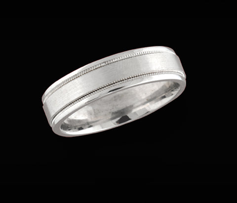 Men's white gold wedding ring with beaded banding