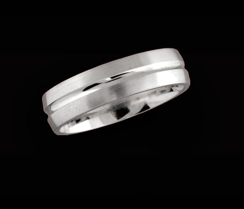 Men's white gold wedding ring with concave centre band 6.5mm