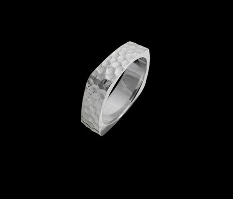 Mens white gold hammered texture square wedding band 6.43 mm