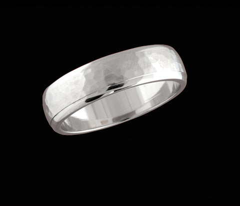 Men's hammered texture round wedding band 6.30mm