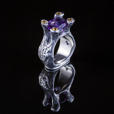 Amphora ring  in sterling silver, featuring amethyst and citrine's