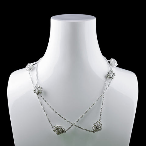 Vine Necklace Sautoir with 8 oval Balls