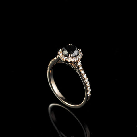 1 ct  diamond engagement ring with halo and paved sleeve