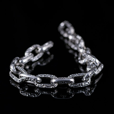 Sterling silver mens chain bracelet with textured links