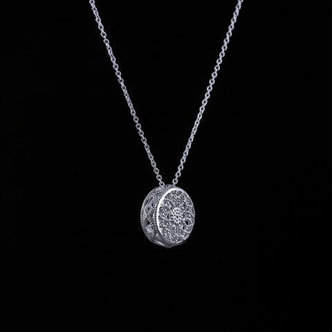 Byzantine inspired circular filigree pendant in sterling silver