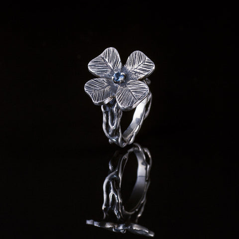 Four Leaf Clover Ring with Blue Topaz Gemstone