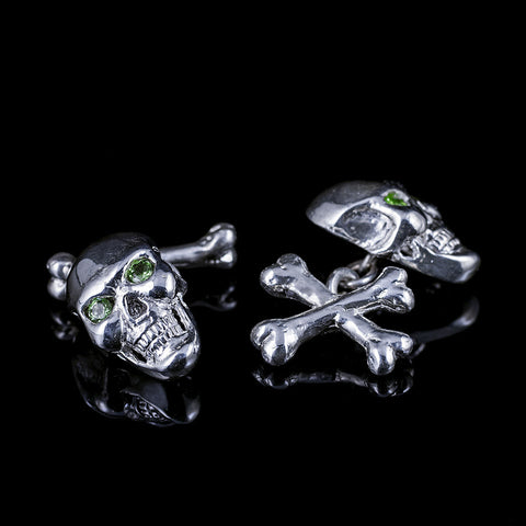 "Crossed Bones skull cufflinks ""peridot"""