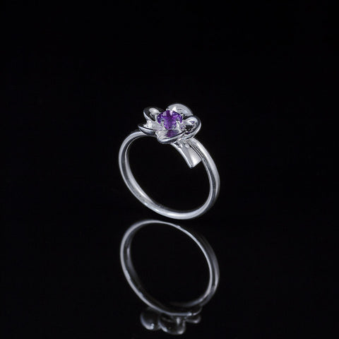 "Single bud flower ring  ""amethyst"""