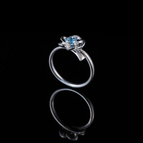 "Single bud flower ring ""blue topaz"""