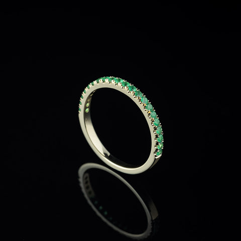 Emerald half eternity band