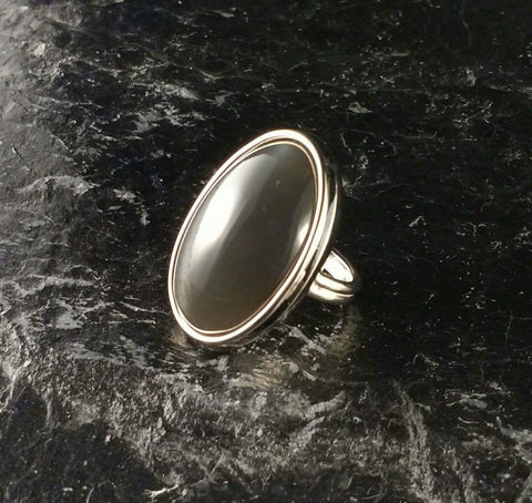 Black moonstone ring