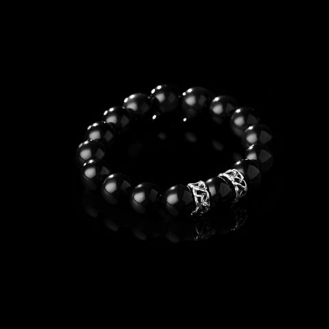 Obsidian or tourmaline bracelet with sterling silver accents