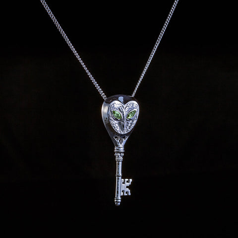 The symbol of knowledge owl and key pendant