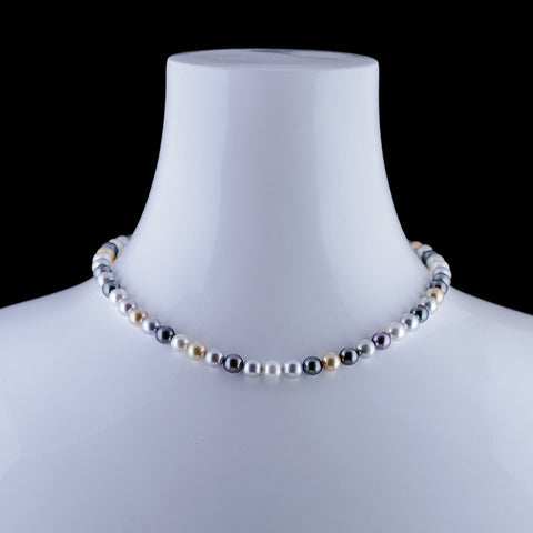Spectrum Tri color 8.5mm Tahatian pearl necklace with custom 14 carat white gold magnetic clasp.