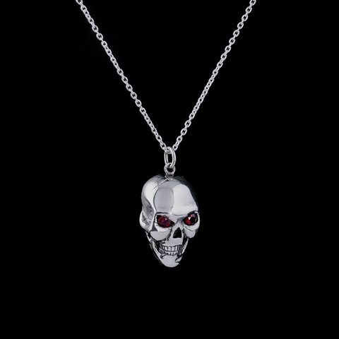 LARGE SKULL PENDANT WITH GARNET EYES