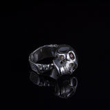 Skull Ring w/Garnet Eyes w/Black Dias In Skull w/ White Dias on the Bottom, Ring - grisgrisfactory - jewelry - montreal