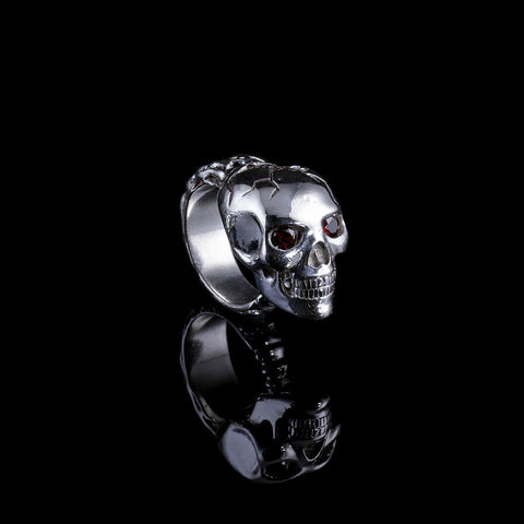 Skull Ring w/Garnet Eyes w/White Diamonds on Bottom, Garnet