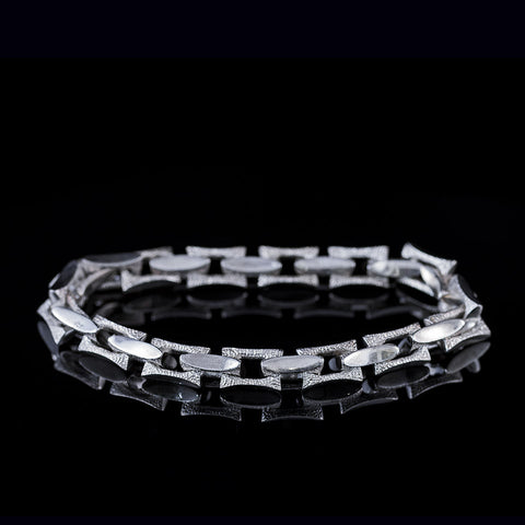 Mens sterling silver bracelet with rectangular textured links