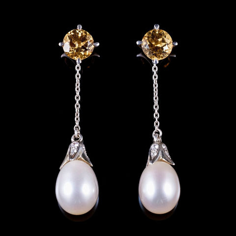 4.5 mm Citrine stud earrings with detachable dangling pearls