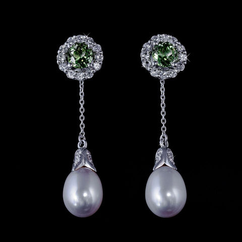 Peridot stud earrings with detachable white sapphire halo and dangling pearls