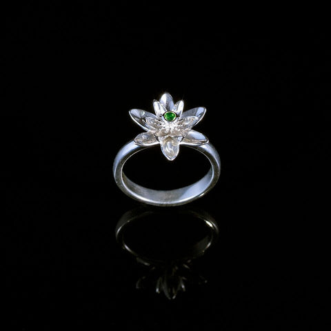 Gift of Enlightenment Lotus Flower Ring Green
