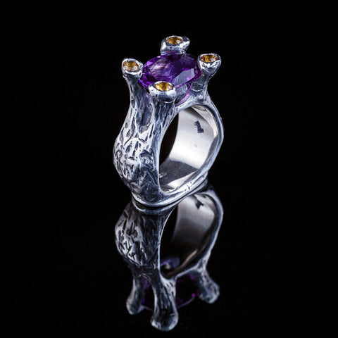 Four Leaf Clover Ring with Amethyst Gemstone