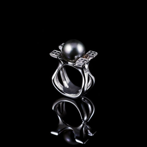 The Empress Tahitian pearl and black diamond ring