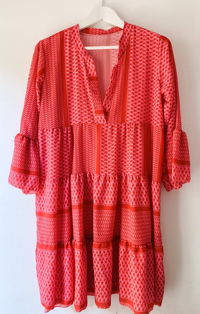 Coral Zig Zag Print Smock Dress