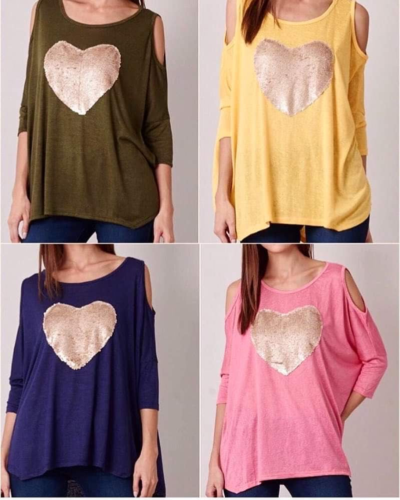 Yellow Heart Cold Shoulder Top
