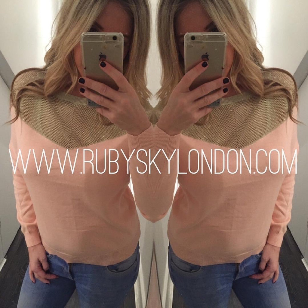 Gold Mesh Neck Top - Ruby Sky