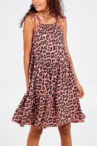 Carly Leopard Print Dress - Coral