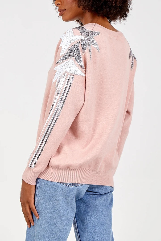 Diamanté shoulder jumper - Pink