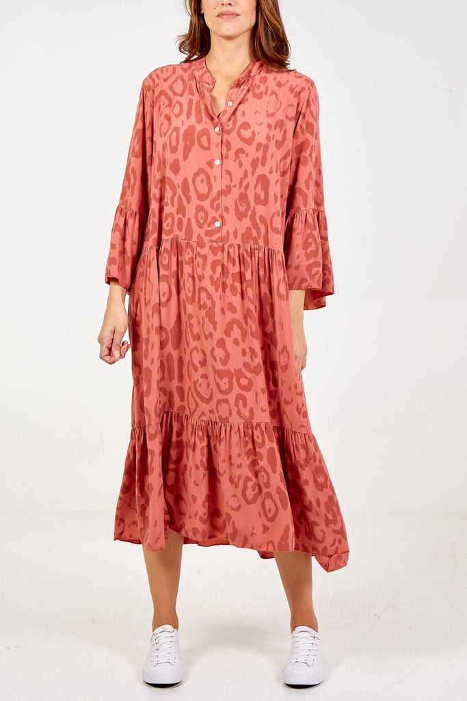 Leopard Maxi Dress Rust