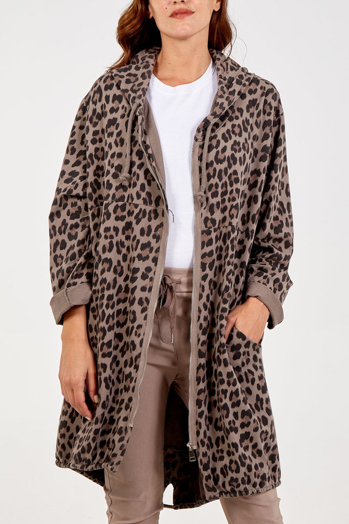 Hooded Leopard Jacket Mocha