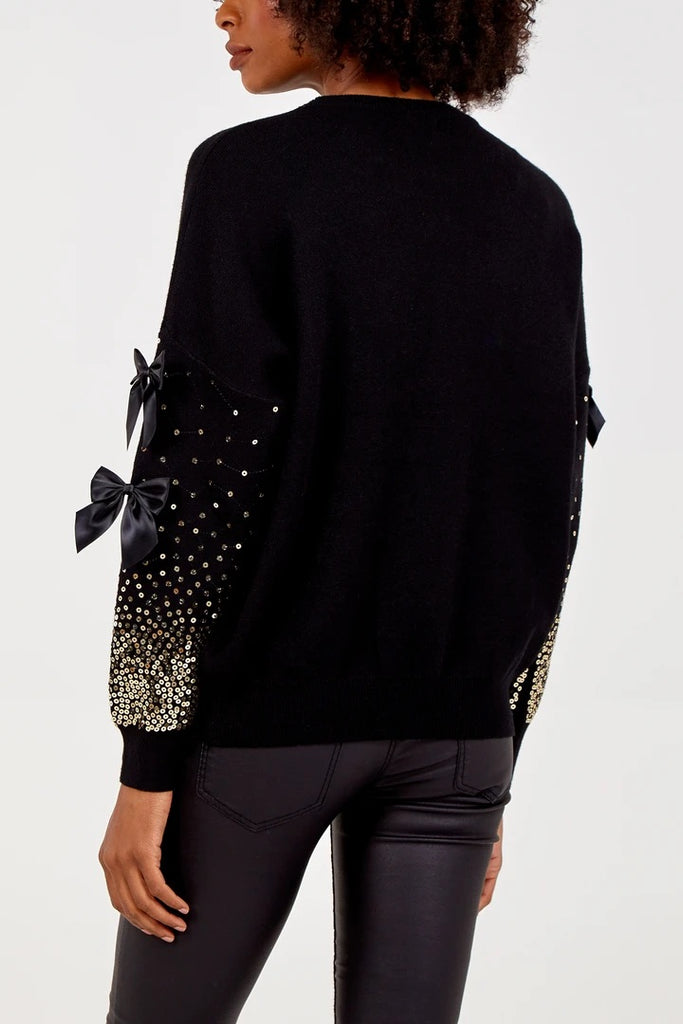 Sequin & Bow Detail Jumper - Black