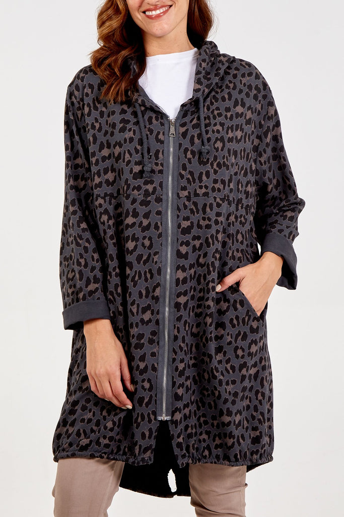 Hooded Leopard Jacket Grey