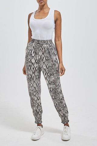 Snake Print Elasticated Cuff Trousers - Ruby Sky