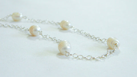 Freshwater baroque pearl station necklace minimalist wedding freshwater baroque pearl station necklace minimalist wedding necklace understated bridal jewelry junglespirit Gallery