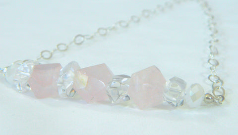 Bridal statement necklace with faceted quartz, alternative wedding jewelry, rose quartz bridal jewelry