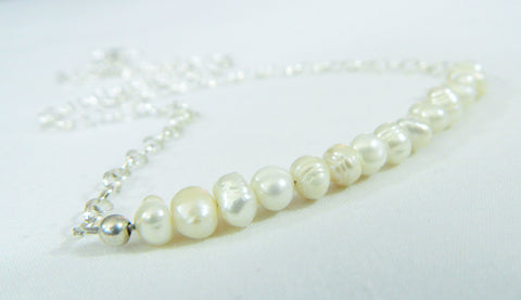 Bridal/Bridesmaid Necklace with Tiny freshwater pearls, tiny wedding necklace, pearl bridal jewelry