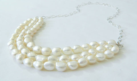 Layered Freshwater Pearl Necklace, Pearl Statement Necklace, Bridal Necklace, Pearl Wedding Jewelry, Classic Pearl Bridal Necklace, Wedding Necklace, Bridal Necklace,Wedding Day Accessories
