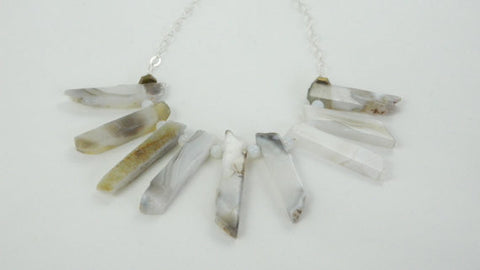 Agate Stick Statement Necklace, White Agate Necklace with Moonstone, The High Priestess Statement Necklace