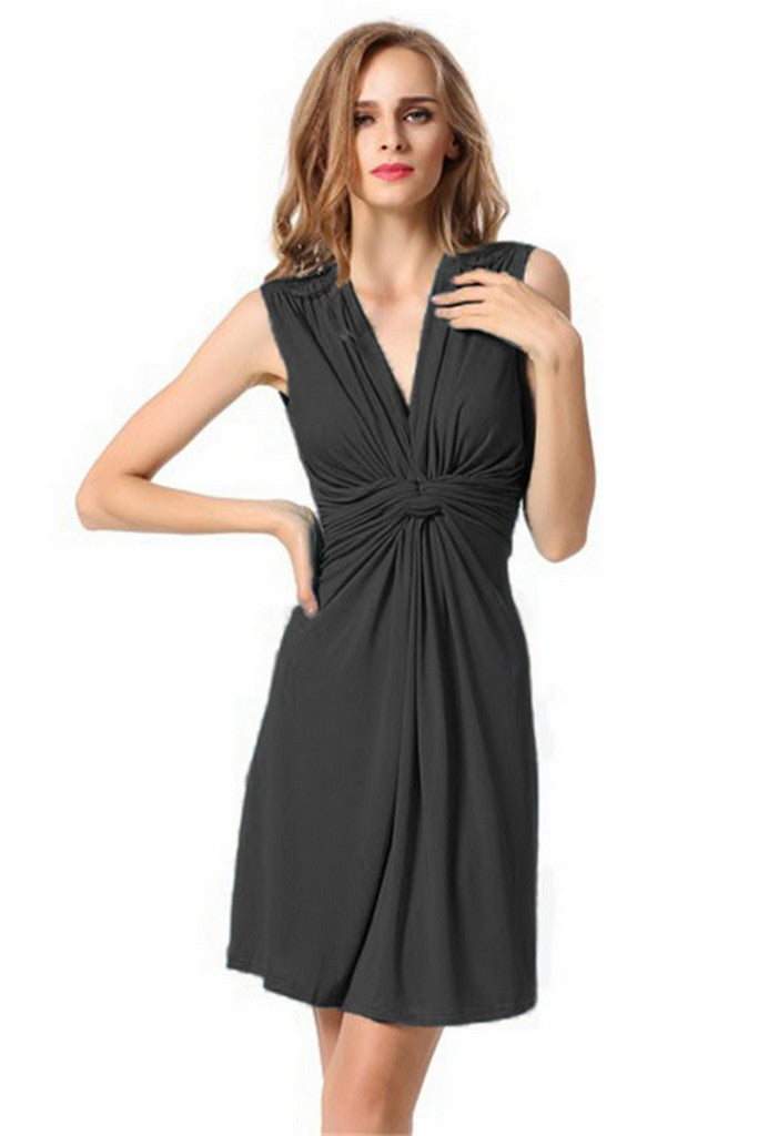 Black Evening Fitted V-neck Sleeveless Short Ruffled Dress - Dresses