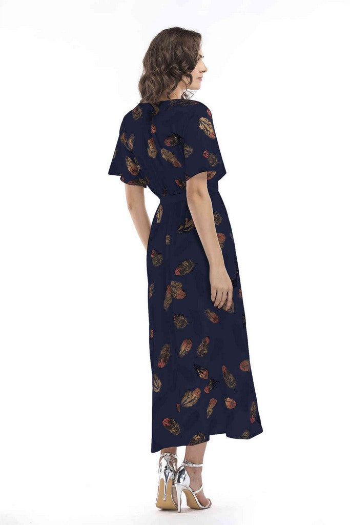 Navy Day A-line Wrap V-neck Short Sleeve Printed Tea Dress - Dresses