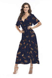 Navy Day A-line Wrap V-neck Short Sleeve Printed Tea Dress