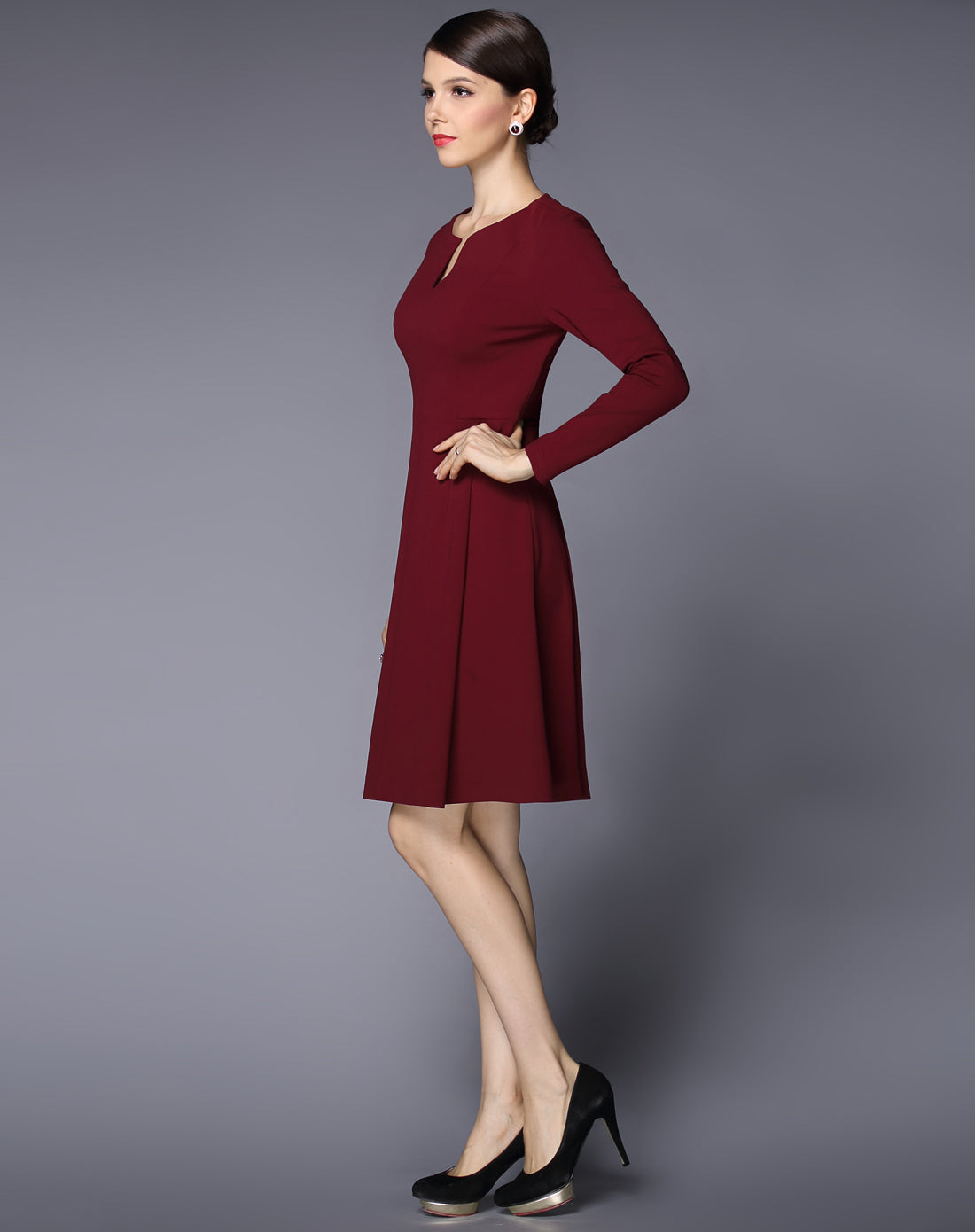 Office A-Line Skirt Keyhole neck Long Sleeves Above Knee Dress - ATLASDAY