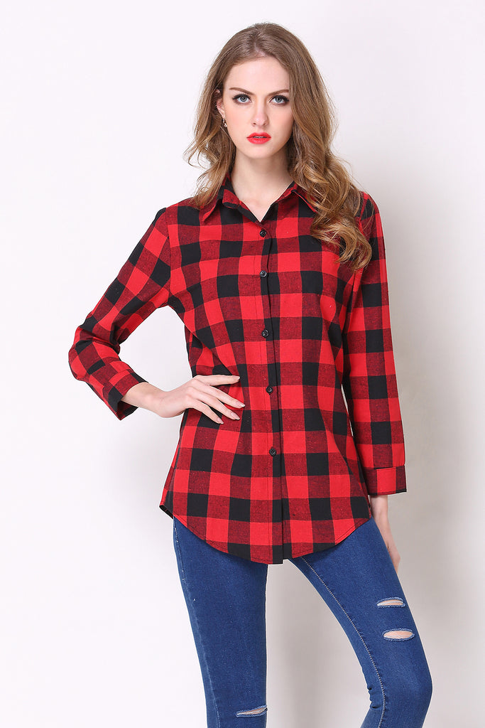 Casual Checkered Buttoned Shirt - Shirts