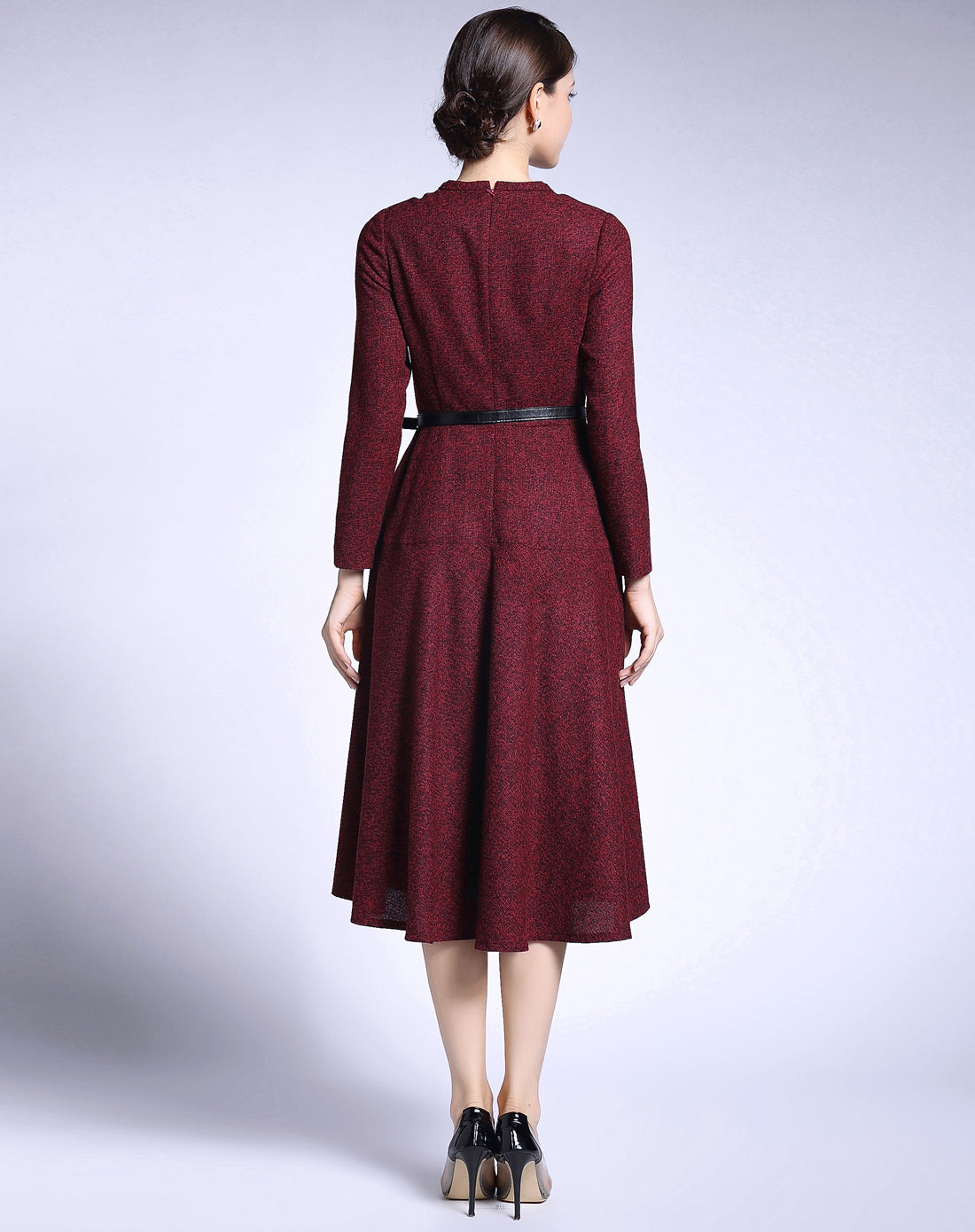 Office A-Line Skirt Crewneck Long Sleeves Midi Dress - ATLASDAY
