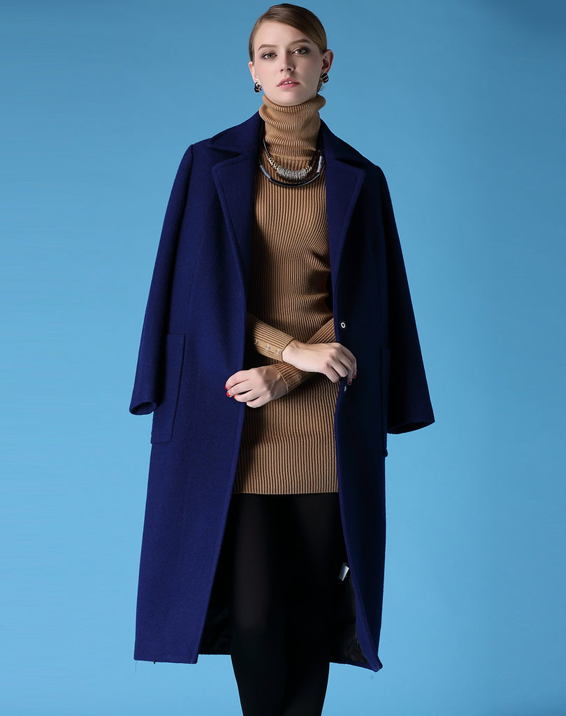 Wool Single Breasted Turn Down Collar Long Sleeve Pea Long Coat - Coats